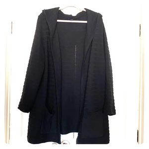WESTBOUND 3X Black Long Cardigan Hooded Sweater